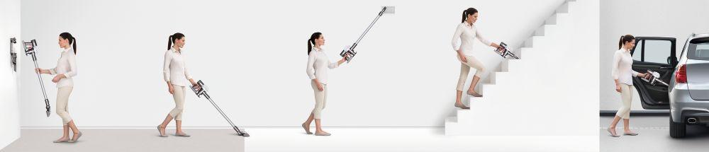 Dyson V6 stofzuiger ergonomisch ontwerp vloer tapijt laminaat plafond trap