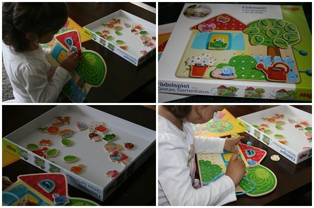 Haba, rijgspel, tina's tuinhuisje, leerzaam speelgoed